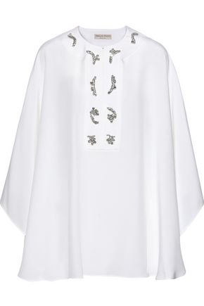 EMILIO PUCCI Crystal-embellished silk crepe de chine cape