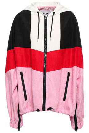 MSGM Color-block satin-crepe hooded jacket