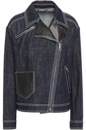 VERSACE Leather-trimmed denim jacket