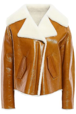 YVES SALOMON Shearling-trimmed crinkled patent-leather jacket