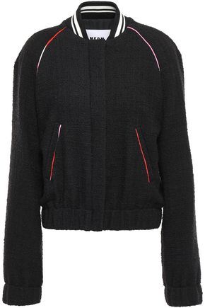 MSGM Embroidered cotton-blend bouclé-tweed bomber jacket