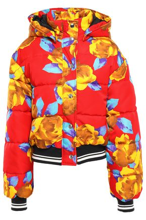 MSGM Floral-print quilted shell hooded down jacket