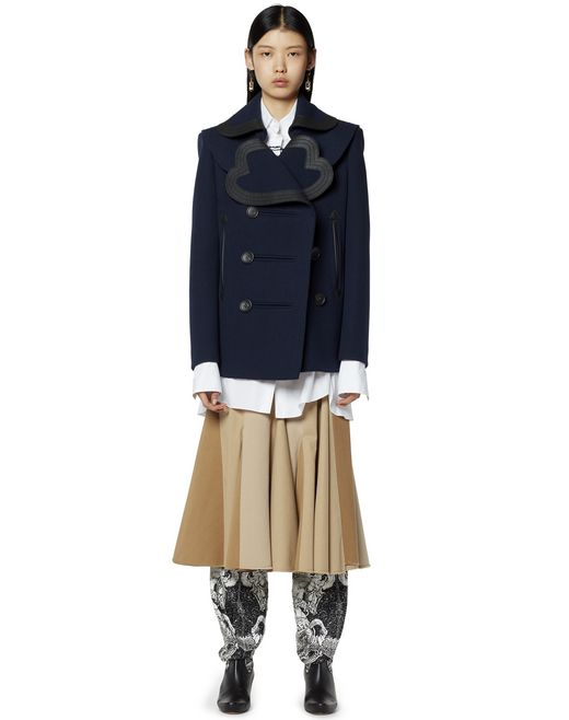 HEART-COLLAR PEA COAT IN WOOL AND CASHMERE - Lanvin
