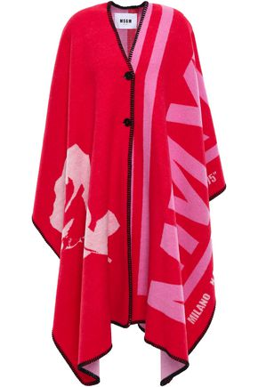 MSGM Jacquard-knit wool-blend cape