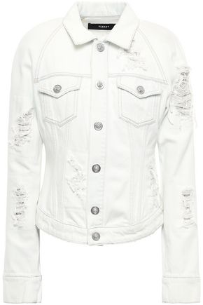 VERSUS VERSACE Embellished distressed denim jacket