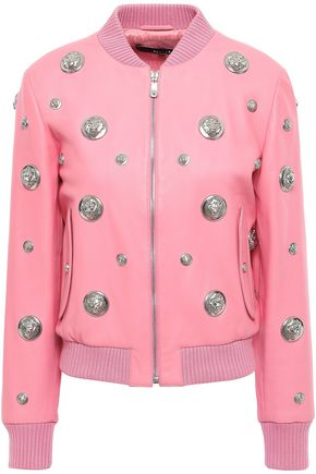 VERSUS VERSACE Studded leather bomber jacket