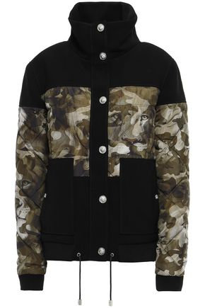 VERSUS VERSACE Paneled quilted printed shell and crepe down jacket