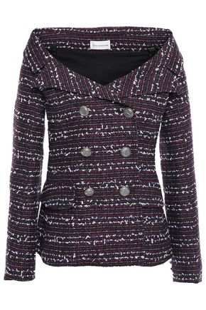 FAITH CONNEXION Off-the-shoulder double-breasted tweed jacket