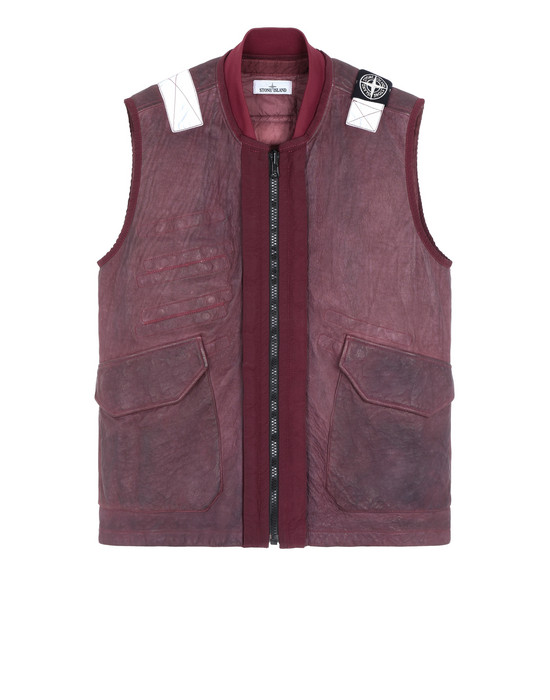 STONE ISLAND 00195 GARMENT DYED LEATHER/DYNEEMA® REVERSIBLE DETACHABLE LINING LEATHER VEST Man Dark Burgundy