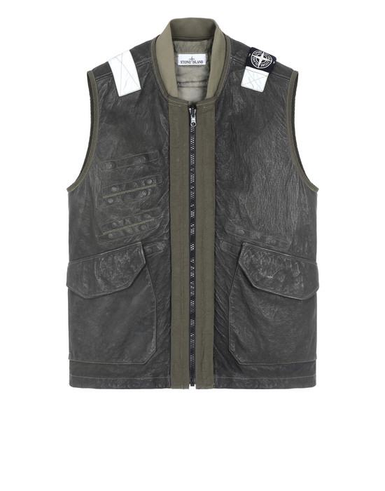 STONE ISLAND 00195 GARMENT DYED LEATHER/DYNEEMA® REVERSIBLE DETACHABLE LINING LEATHER VEST Man Olive Green