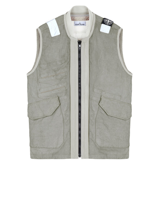 STONE ISLAND 00195 GARMENT DYED LEATHER/DYNEEMA® REVERSIBLE DETACHABLE LINING LEATHER VEST Man Dust Grey