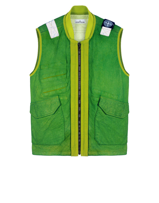 STONE ISLAND 00195 GARMENT DYED LEATHER/DYNEEMA® REVERSIBLE DETACHABLE LINING LEATHER VEST Man Pistachio Green