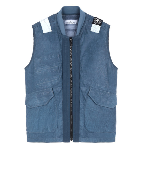 STONE ISLAND 00195 GARMENT DYED LEATHER/DYNEEMA® REVERSIBLE DETACHABLE LINING LEATHER VEST Man Avio Blue