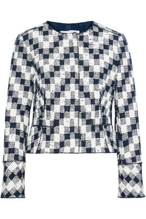 OSCAR DE LA RENTA Checked cotton-blend tweed jacket