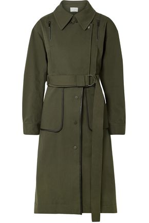 GREY JASON WU Convertible leather-trimmed cotton-blend twill coat