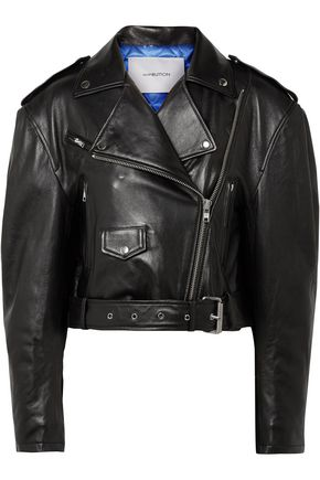 PUSHBUTTON Cropped textured-leather biker jacket