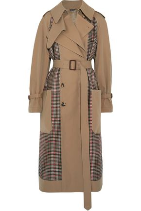 ALEXANDER MCQUEEN Prince of Wales checked tweed and gabardine trench coat