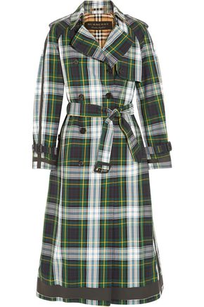 BURBERRY Double-breasted checked cotton-gabardine trench coat