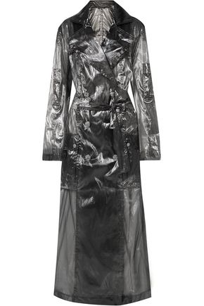 BALMAIN Metallic voile trench coat