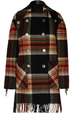 CALVIN KLEIN 205W39NYC + Pendleton double-breasted fringed checked wool coat