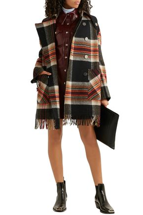 Calvin Klein 205w39nyc Coats CALVIN KLEIN 205W39NYC WOMAN + PENDLETON DOUBLE-BREASTED FRINGED CHECKED WOOL COAT MULTICOLOR
