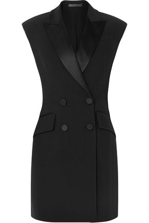 ALEXANDER MCQUEEN Double-breasted satin-trimmed crepe mini dress