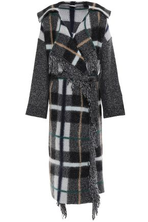 STELLA McCARTNEY Fringe-trimmed checked intarsia-knit wool-blend coat