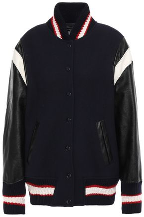 STELLA McCARTNEY Faux leather-paneled appliquéd wool-felt bomber jacket