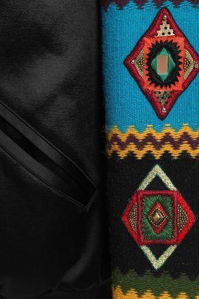 SAINT LAURENT 装飾付き ジャカードパネル サテンクレープ ボンバージャケット