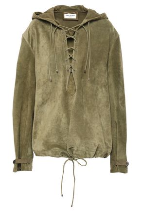 SAINT LAURENT Lace-up suede hooded top