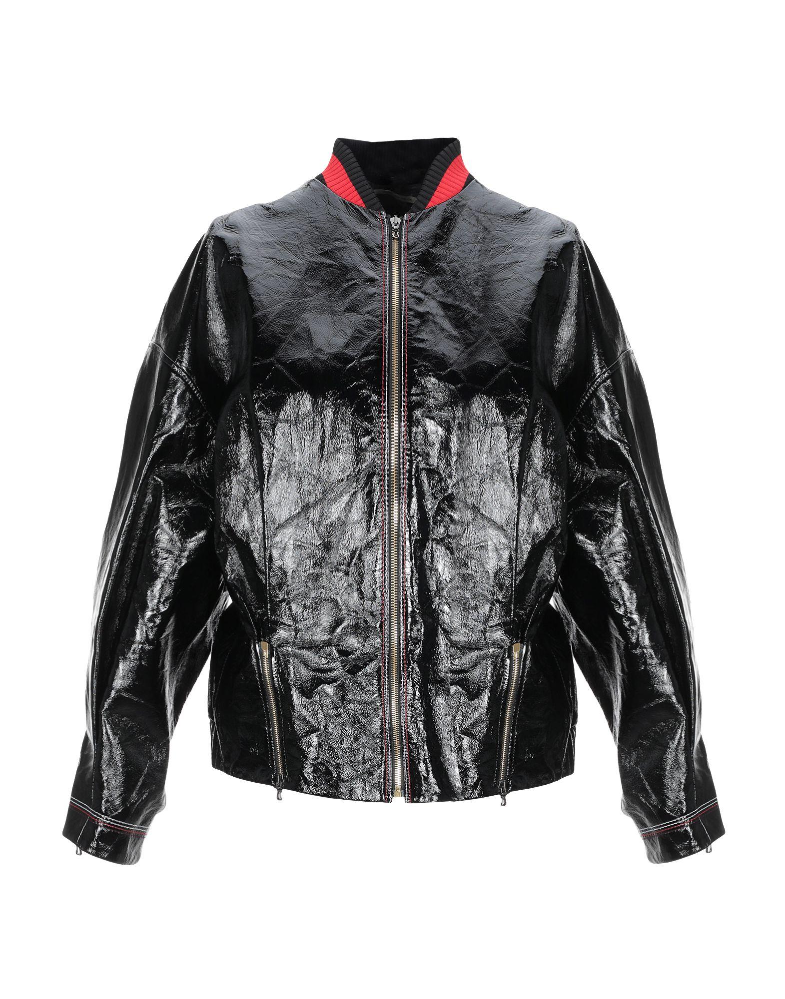 《セール開催中》ROLAND MOURET レディース ブルゾン ブラック 10 革 100% / アセテート / ポリエステル