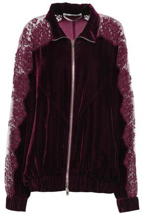 STELLA McCARTNEY Lace-paneled velvet track jacket