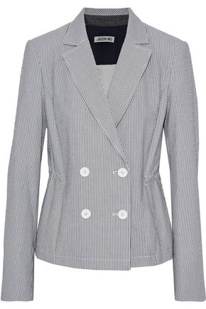 JASON WU Double-breasted striped cotton-blend seersucker blazer