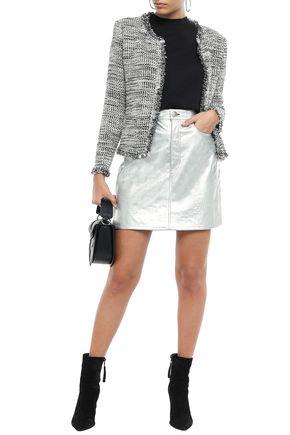 Iro Woman Unplug Frayed Metallic Bouclé-Tweed Jacket Gray