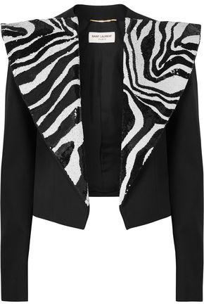 SAINT LAURENT Cropped sequin-embellished wool-crepe jacket