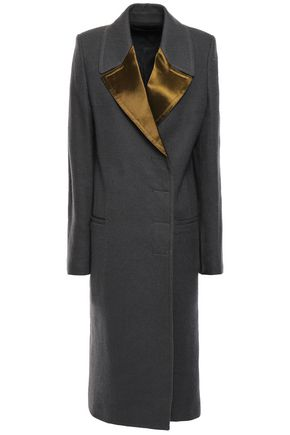 HAIDER ACKERMANN Double-breasted satin-trimmed brushed-wool coat