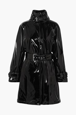 MOSCHINO Belted vinyl trench coat