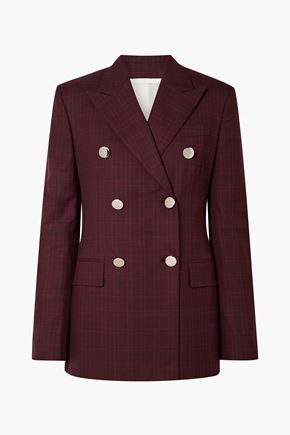 CALVIN KLEIN 205W39NYC Double-breasted Prince of Wales checked wool and silk-blend blazer