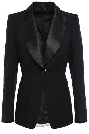 ANN DEMEULEMEESTER Striped satin twill-paneled cotton and linen-blend blazer