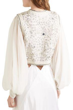 ETRO Silk chiffon-paneled embellished cloqué cotton-blend bolero