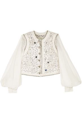 ETRO Silk chiffon-paneled embellished cloqué cotton-blend bolero