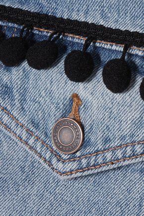 MARC JACOBS Cropped pompom-embellished denim jacket