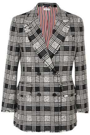 THOM BROWNE Frayed checked double-breasted wool-blend tweed blazer