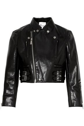JUNYA WATANABE Cropped faux cracked-leather biker jacket