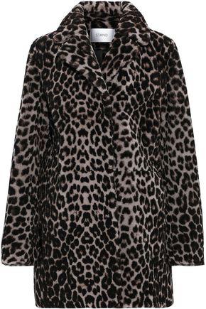 STAND STUDIO Leona leopard-print shearling coat