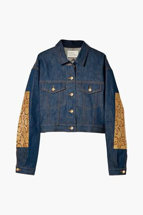 HILLIER BARTLEY Snake effect leather-paneled denim jacket