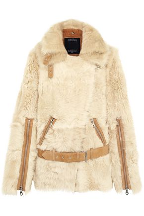 ROKH Convertible belted suede-trimmed shearling jacket