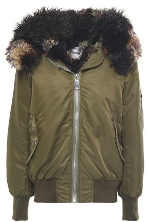 STAND STUDIO Shearling-lined shell hooded bomber jacket