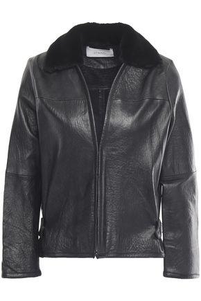 STAND STUDIO Rabbit fur-lined textured-leather biker jacket