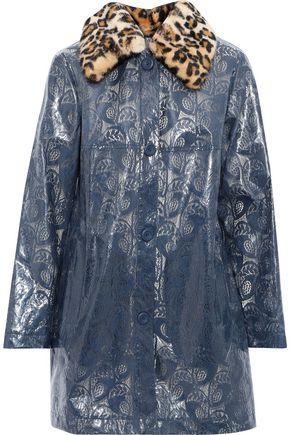 STAND STUDIO Anais leopard-print faux fur-trimmed coated lace raincoat